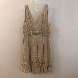 BCBG Beige Gold Empire Sequin Dress
